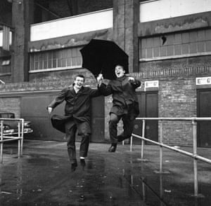 Johnny Byrne and Bobby Moore outside West Ham's stadium
