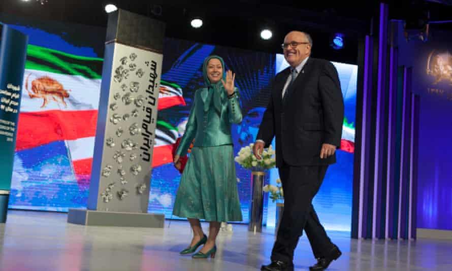 Maryam Rajavi and Rudy Giuliani at a ceremony in Tirana in March marking the Iranian new year.