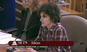 Carly Mitchell testifying in support of proposed legislation for third gender option in California.