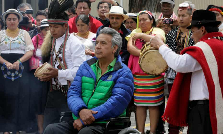 Lenín Moreno, presidential candidate from the ruling Alianza País, attends a campaign event in Quito on Monday. He would be the country's first paraplegic head of state if elected.