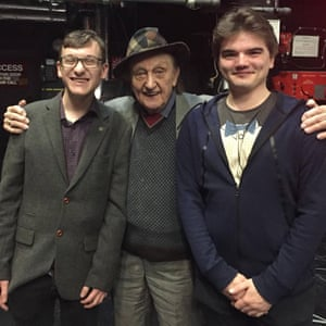 Callum Pepper (right) and his friend, with Ken Dodd