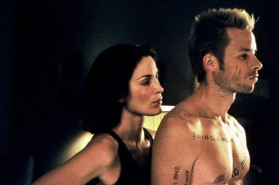 With Carrie-Anne Moss in Memento.