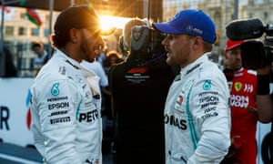 Lewis Hamilton speaks to his Mercedes teammate Valtteri Bottas, who pipped the reigning F1 champion to pole in Baku.