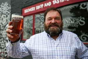Managing Director and Head Taster of Skinners Brewery, Steve Skinner poses for a photograph in front of the hop back on March 23, 2021 in Truro, England