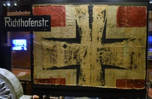 A section of fabric showing the German national insignia, taken from one of the wings of Baron von Richthofen's Fokker triplane on display at the Australian War Memorial in Canberra.