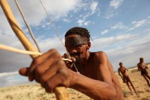 A bushman from the Khomani San community in the southern Kalahari desert