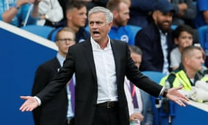 José Mourinho reacts during the Manchester United's defeat at Brighton
