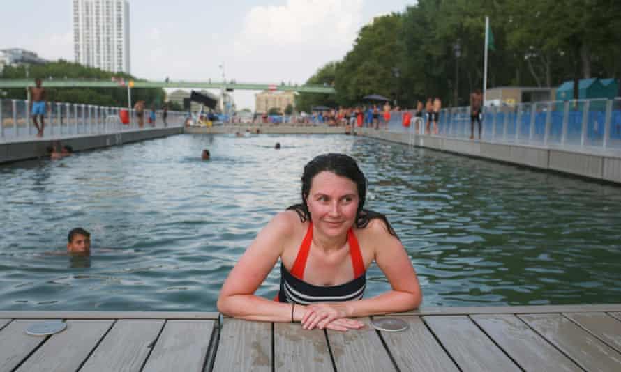 Megan Clement takes a dip in Bassin de la Villette.