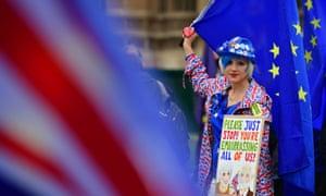 A pro-EU protester outside parliament in London.