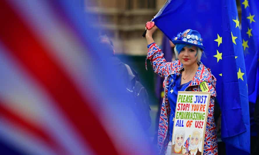 A pro-EU protester outside parliament in London.