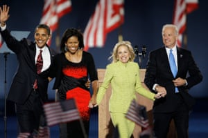 Biden and his wife Jill join Barack and Michelle Obama after Barack Obama's acceptance speech in Chicago on 4 November 2008.