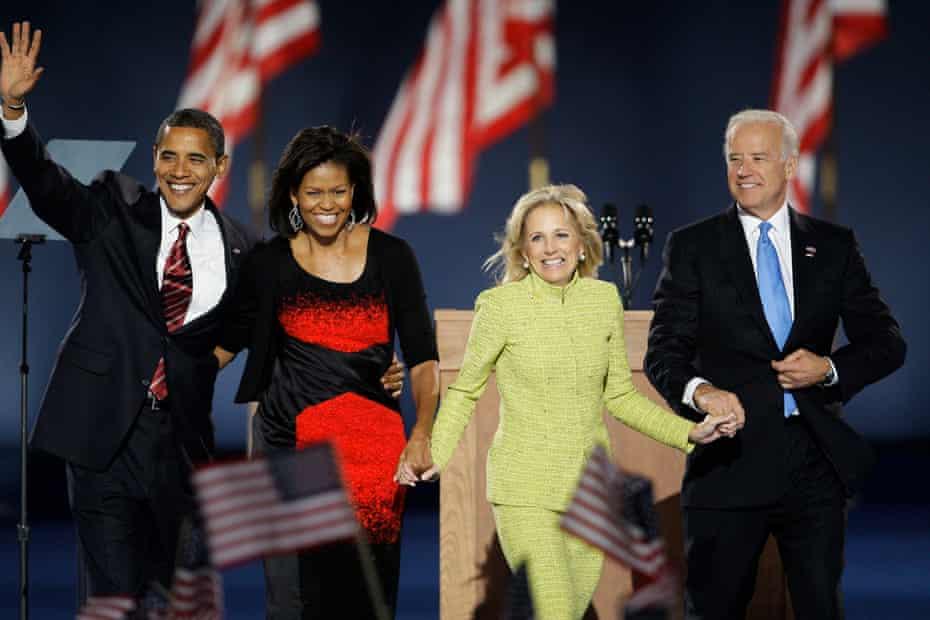 Barack Obama, Michelle Obama, Jill Biden and Joe Biden at an election night party at Grant Park in Chicago, 4 November 2008.