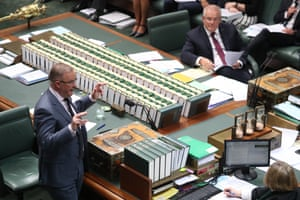 Opposition leader Anthony Albanese and prime minister Scott Morrison during question time