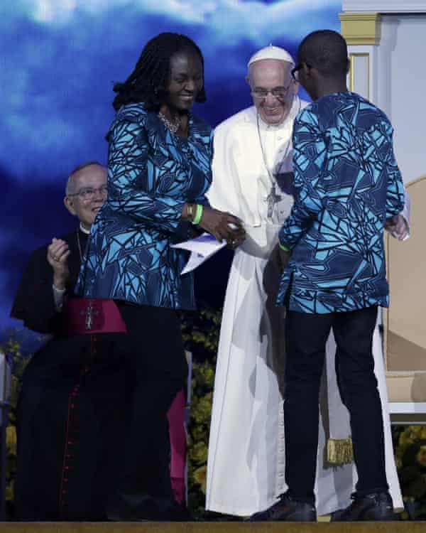 Pope Francis with devotees in Philadelphia last year.