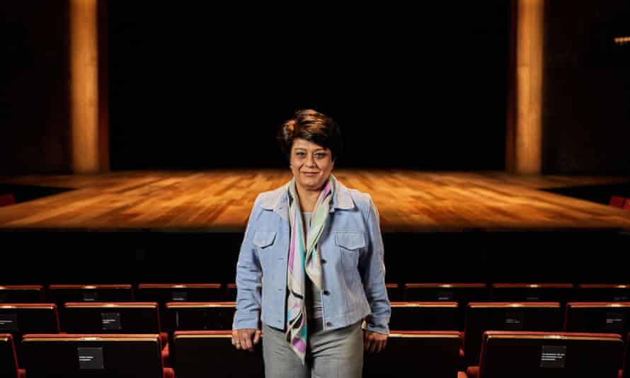 Shriti Vadera at the RSC in front of the stage.