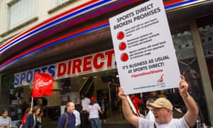 Protesters outside Sports Direct on Oxford Street in London