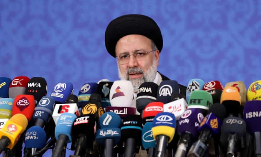 Iran's president-elect Ebrahim Raisi at a news conference in Tehran, Iran, June 2021
