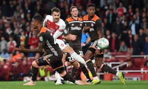Aaron Ramsey fires in a shot in the midweek Carabao Cup win over Brentford, Arsenal's sixth successive victory in all competitions.