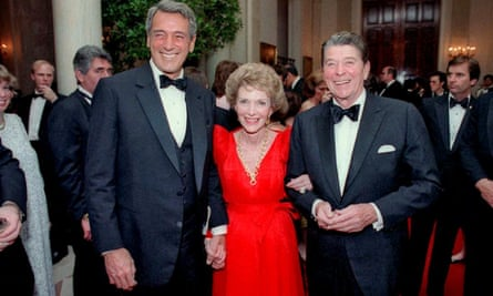 President Reagan and Nancy Reagan with Rock Hudson, left, at the White House in 1984, a year before he died.