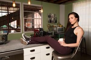 Porn star Casey Calvert at her home/studio in LA