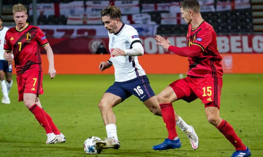 Jack Grealish carries he fight to Belgium in Leuven.