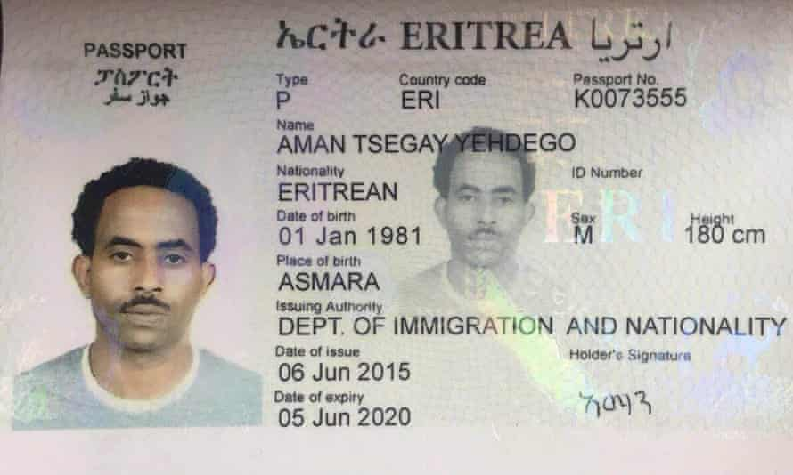 Copy of a forged Eritrean passport used by notorious human trafficker Medhanie Yehdego Mered