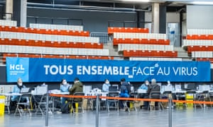 A vaccination information centre in Lyon where the Pfizer vaccine is administered.
