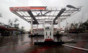 A damaged petrol station at Konark