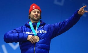 Britain's Billy Morgan celebrates after winning bronze in the men's snowboard big air final in Pyeongchang.