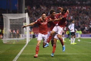 Lolley celebrates after heading in Forest's second of the night.