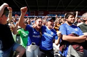Cardiff City fans celebrate.