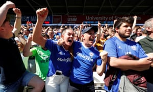 The celebrations begin for Cardiff City.