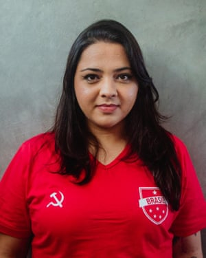 Luísa Cardoso models her red version of the Brazil shirt, complete with hammer and sickle.