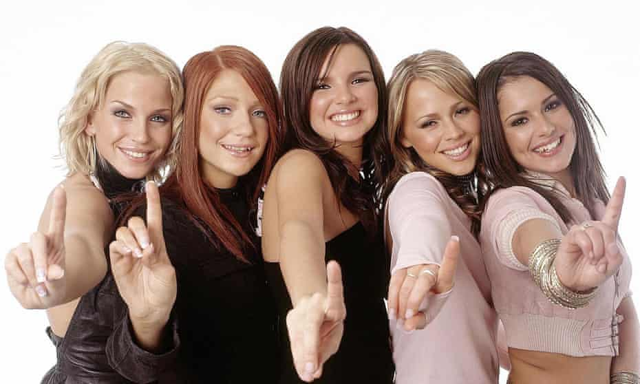 'I bloody well did deserve to be in Girls Aloud' ... Harding, left, with bandmates Nicola Roberts, Nadine Coyle, Kimberley Walsh and Cheryl Tweedy.