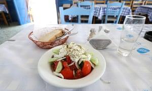 Horiatiki (Greek salad) at Sunset Taverna.
