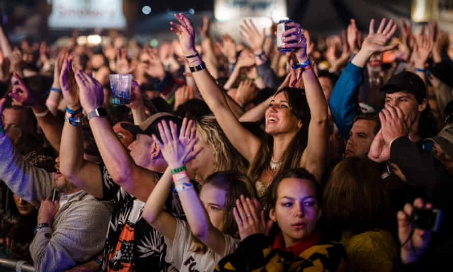 Crowds watch Fontaines DC at Green Man festival last weekend.