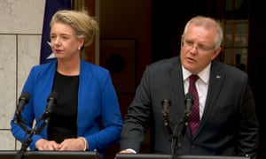 Bridget McKenzie and Scott Morrison speak to the media during a press conference at parliament house.