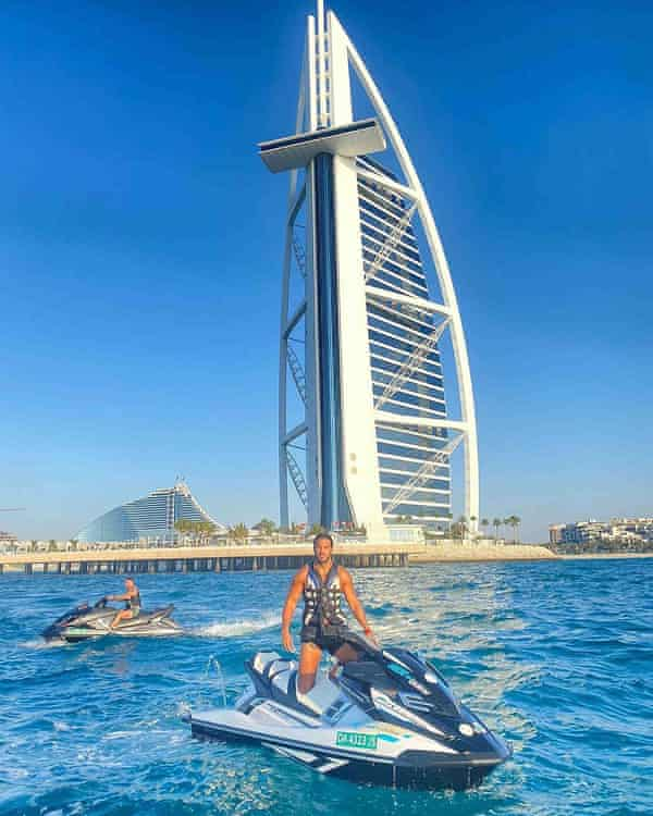The Only Way Is Essex star James Lock on a jetski in Dubai