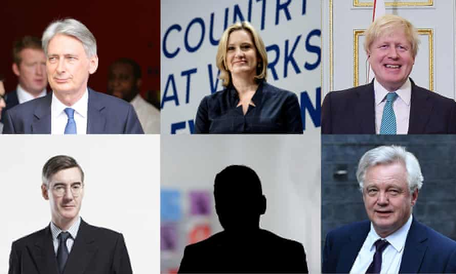 The main candidates clockwise from top left: Philip Hammond, Amber Rudd, Boris Johnson, David Davis, Jacob Rees-Mogg. Or will it be a mystery candidate?