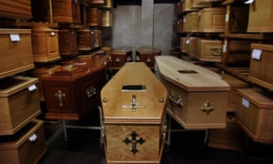 The coffin room of a funeral workshop