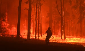 A firefighter battles the Gospers Mountain fire south-west of Sydney last November