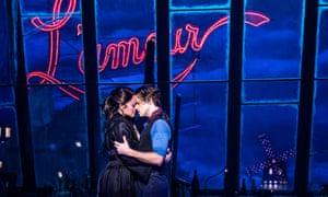 Karen Olivo and Aaron Tveit in Moulin Rouge
