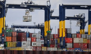 Gantry cranes and containers at the Port of Felixstowe,.
