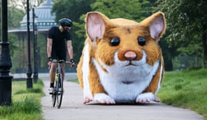 A 4-metre pedal-powered mechanical model hamster, in London, which has been created in the likeness of Jaffa the hamster, who is listed as one of the 10 oddest discoveries made by Kwik Fit technicians in customers' cars