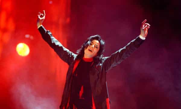 Michael Jackson performing at the 1996 the Brit awards.