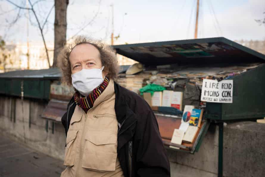 Jérôme Callais, president of the Association of Bouquinistes of Paris, photographed on his book stall on the banks of the Seine.