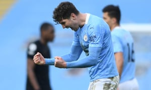 John Stones, who scored Manchester City's winner, celebrates after the final whistle.
