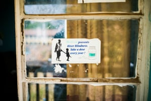 A sticker about the prevention of river blindness