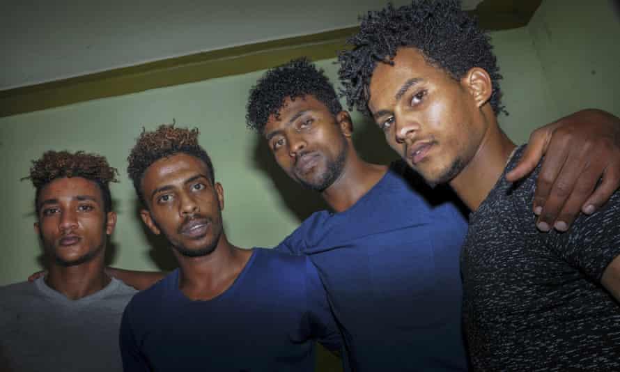 The four Eritrean footballers in Uganda, pictured in October 2019. From left, Simon Asmelash, Mewael Yosief, Hermon Yohannes and Hanibal Tekle.
