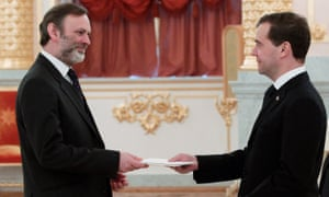 Barrow, as ambassador to Moscow in 2011, is welcomed by Dmitry Medvedev, at the Kremlin.